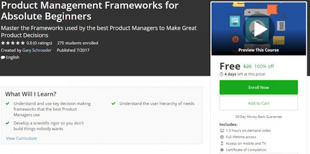 [100% Off] Product Management Frameworks for Absolute Beginners| Worth 20$