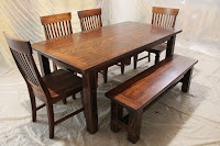 Farmhouse Table, Bench, and Chairs