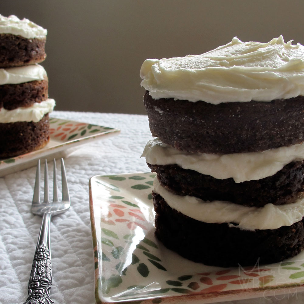 Mini Chocolate Cakes Baked In Ramekins And Stacked Into Towers