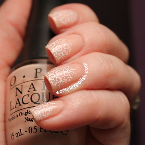 Deconstructed French: OPI Second Honeymoon and BM-214 in Konad White