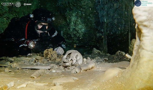 Underwater archaeologists studying the world's largest flooded cave system, discovered 9000-year-old human remains