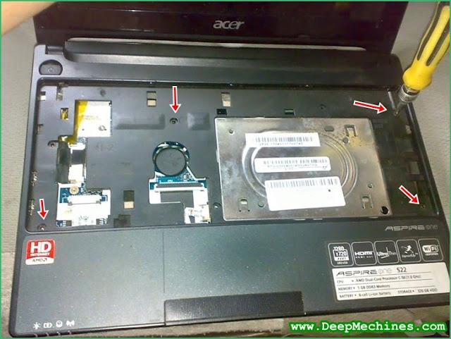 Cara Membongkar Baut di bawah Keyboard pada Cassing  Netbook  - Acer Aspire One
