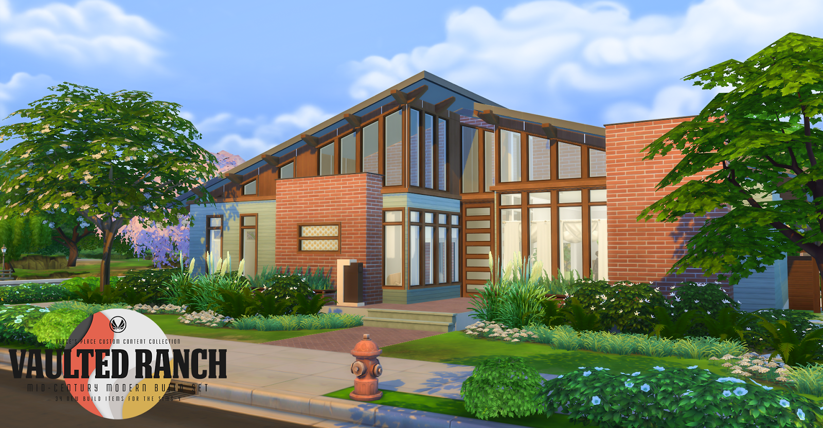 My sims 4 blog vaulted ranch an mcm inspired build set for Ranch house blog