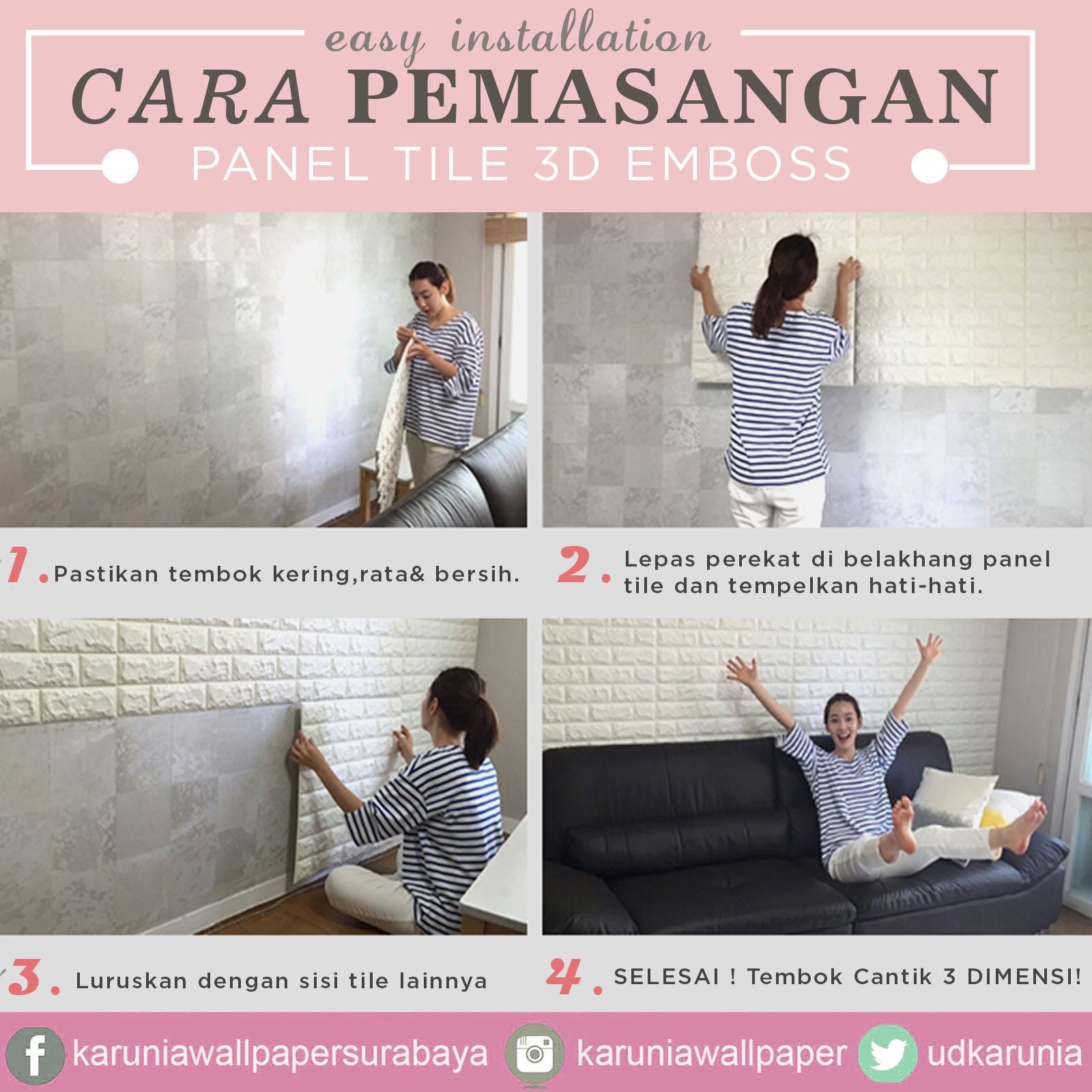 jual wallpaper timbul empuk foam  3 dimensi emboss surabaya