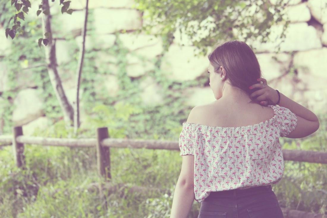 Blusa hombros descubiertos y estampado de flamencos