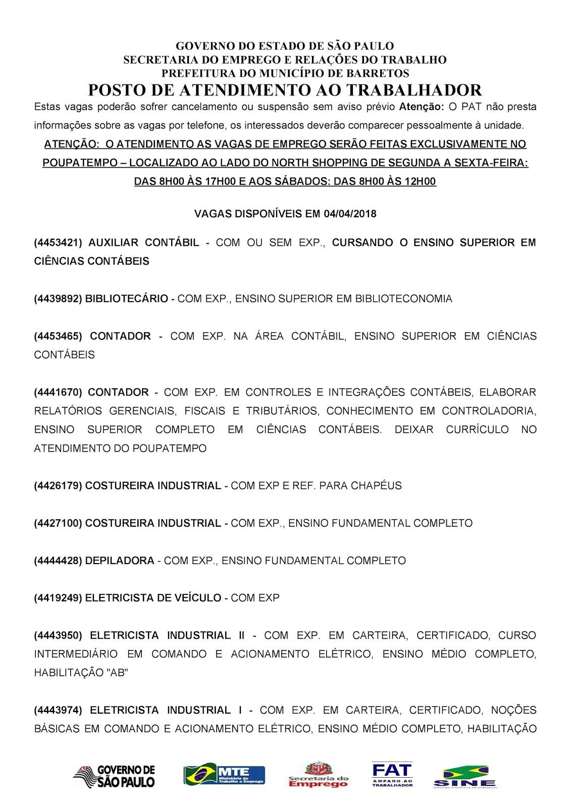 VAGAS DE EMPREGO DO PAT BARRETOS-SP PARA 04/04/2018 QUARTA-FEIRA - PARTE 1