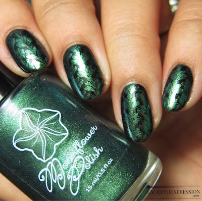 Moonflower Polish Sirena nail polish stamped over black