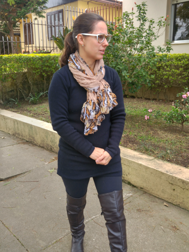 Botas over the knee com legging e sobrelegging