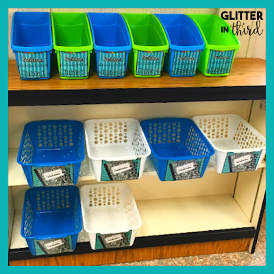 Picture of notebook bins for classroom storage ideas