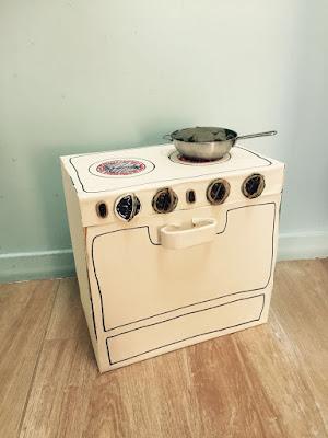 fazer cozinha de papelão / fogão de brincar