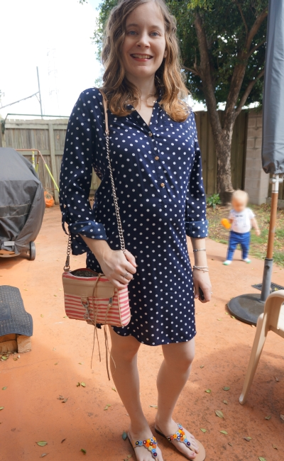 Away From Blue | Second Trimester Atmos&Here Polly navy polka dot shirt dress