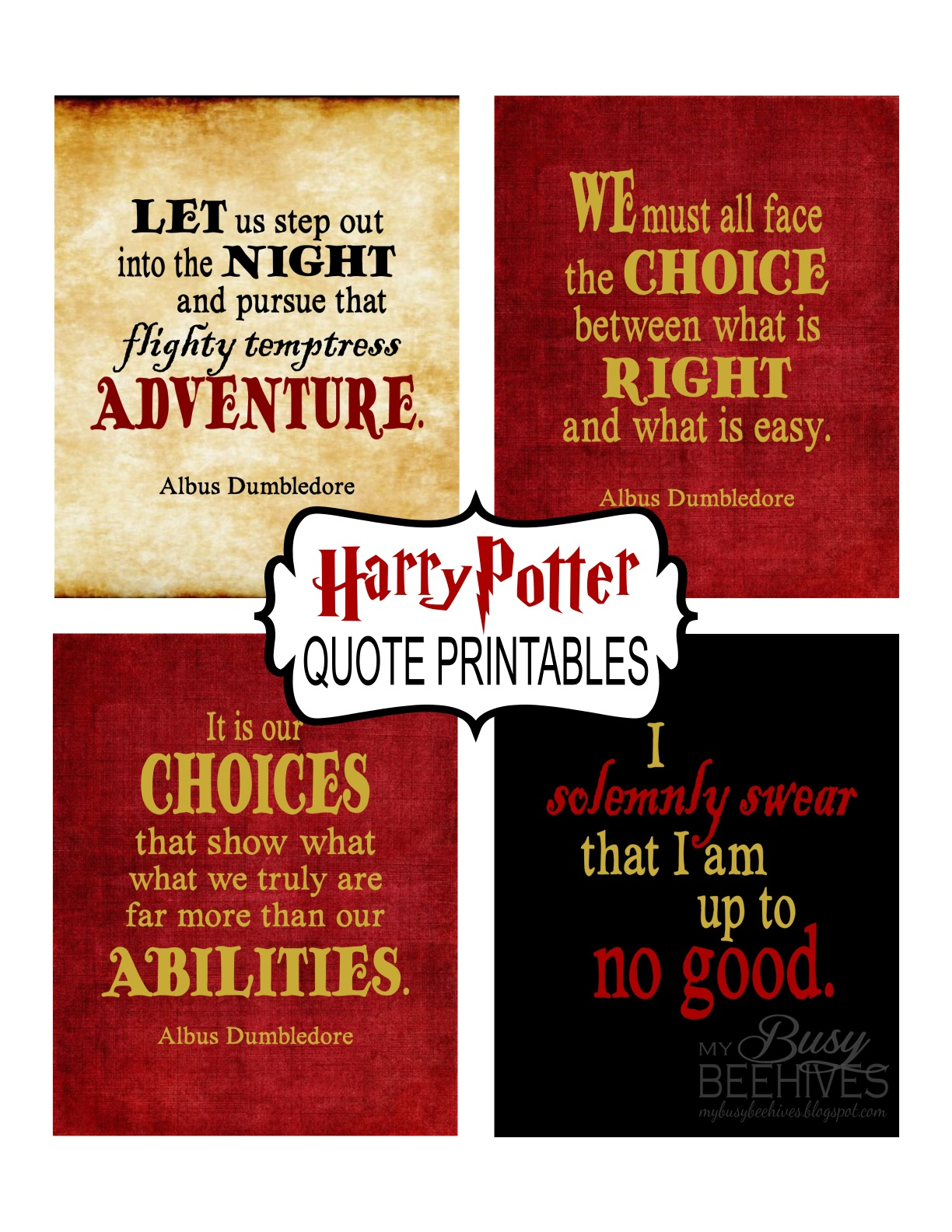 My Busy Beehives Harry Potter Quote Printables