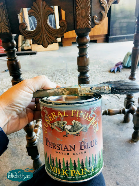 general finishes persian blue milk paint occassional table painted and stained makeover before and after