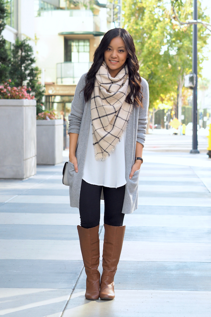 Gray Cardigan + Leggings + White Blouse + Riding Boots