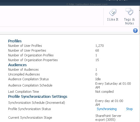 SharePoint Profile Synchronization in Progress