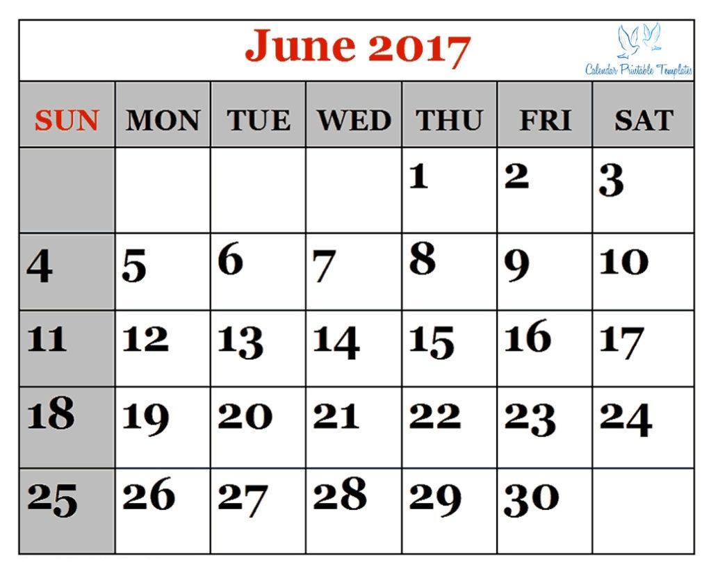June 2017 Printable calendar PDF, Word, Excel