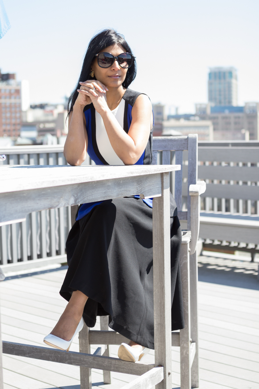 circle skirt, peplum top, spring fashion, white pumps, charles david, color-blocked, bright blue, black floppy hat, sporty chic, minimalist, spring lookbook, petite fashion, mom style, mom fashion, boston street style