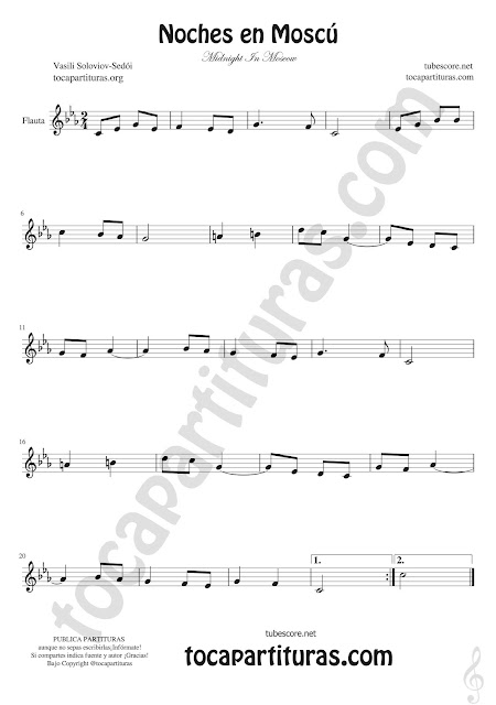 Flauta Travesera, flauta dulce y flauta de pico Partitura de Noches en Moscú Sheet music for flute & recorder