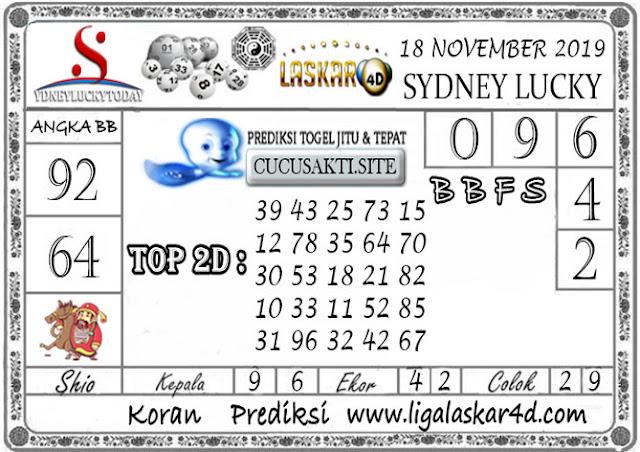 Prediksi Sydney Lucky Today LASKAR4D 18 NOVEMBER 2019