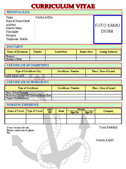 Format Curriculum Vitae Cv Pelaut Yang Benar Pelaut Indonesia