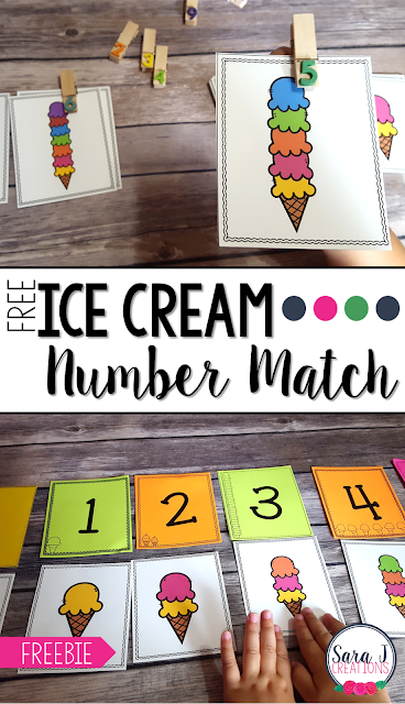 FREE ice cream themed number match cards are perfect counting practice for numbers 1-10. I love this for preschool and kindergarten.