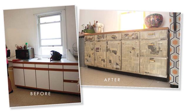 Newsprint Cabinets Aunt Peaches, How To Decoupage Kitchen Cabinets