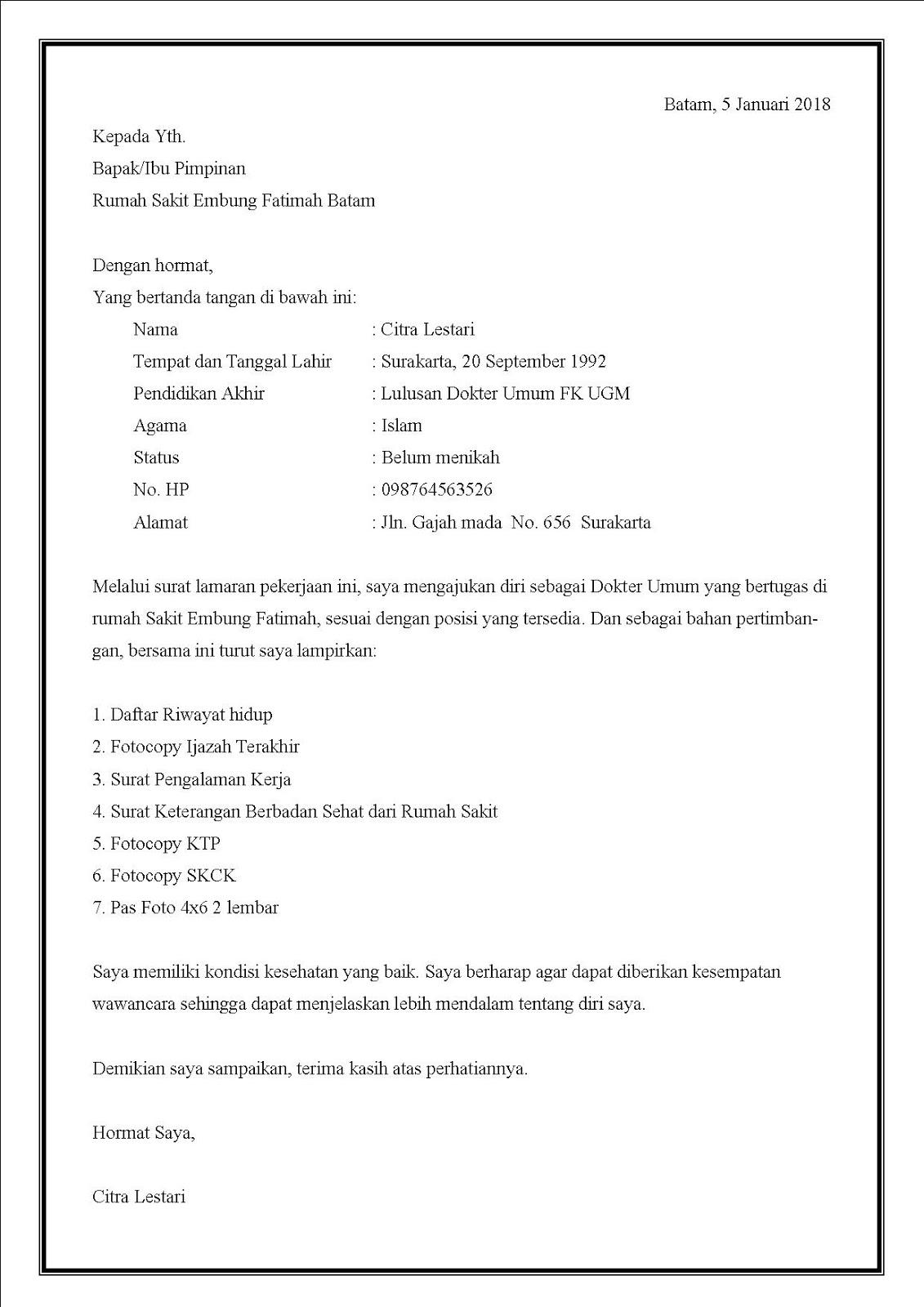 Contoh surat lamaran kerja di rumah sakit Terbaru