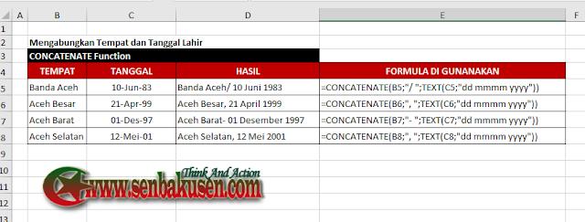 Menggabungkan Tempat Dengan Tanggal di Excel