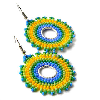 seed bead earrings disc brick earrings beadwork jewelry multicolor