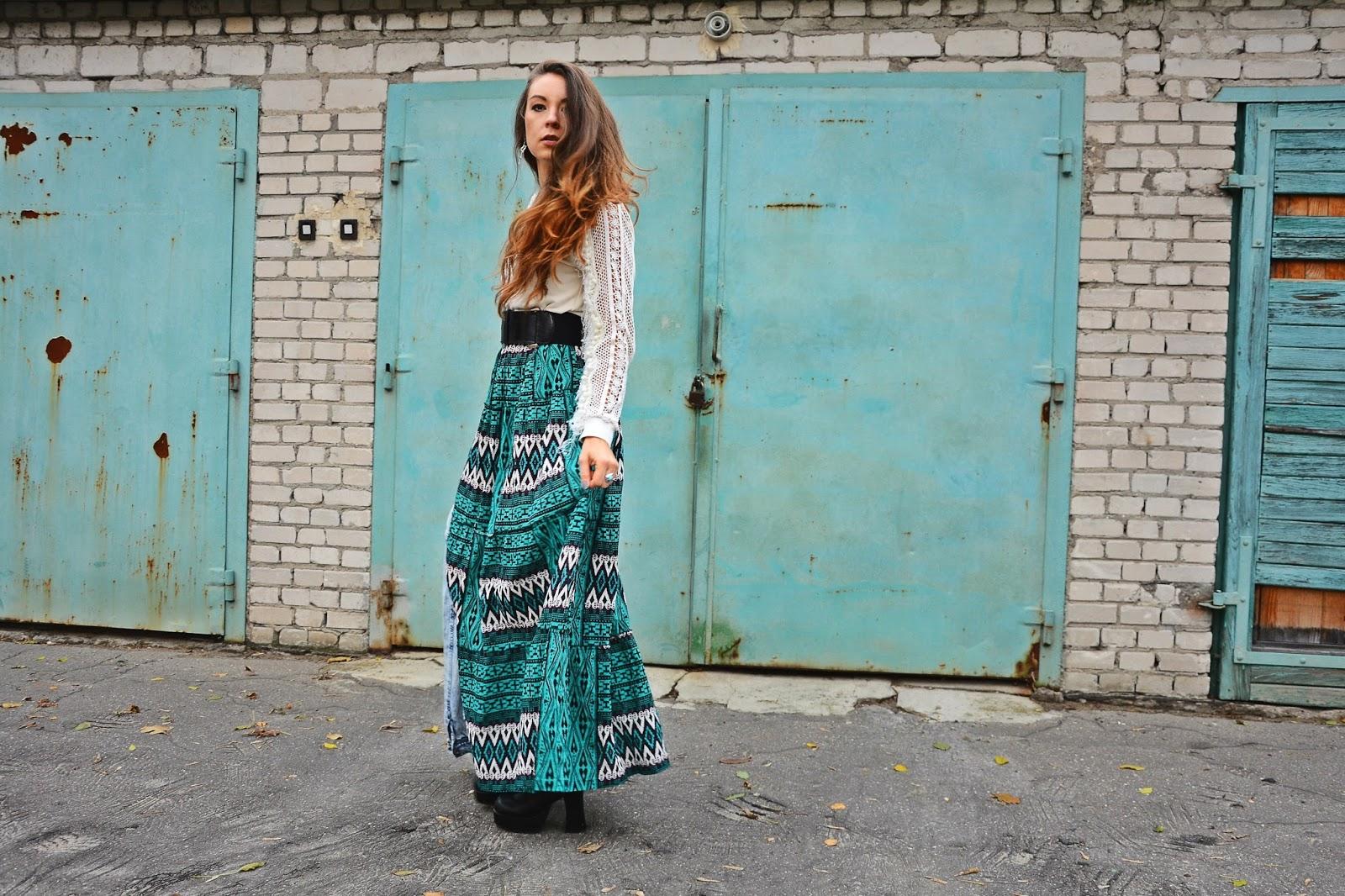 Boho girl in turquoise skirt