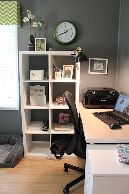 Home Office Makeover with the Kallax Desk from IKEA // ww.pugsandpearls.com