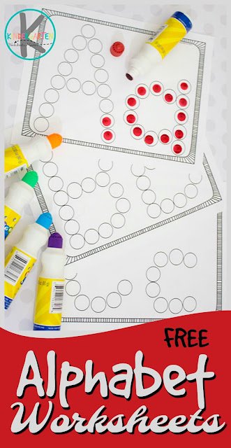 FREE Alphabet Worksheets - these simple abc worksheets are a great printable  to help children practice their letters using do a dot markers. Perfect free printable for toddler, preschool, and kindergarten.
