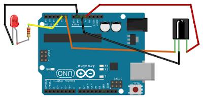 rangkaian receiver infra red arduino untuk mengontrol lampu led