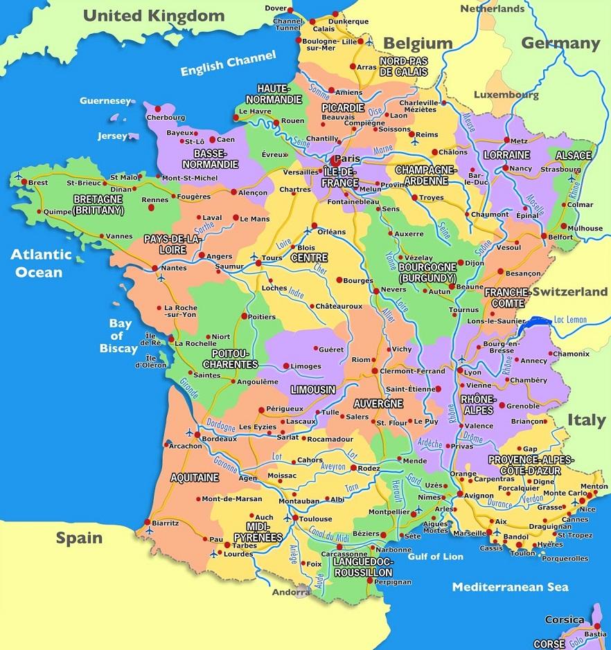 Cartina Topografica Della Francia.Mapa Di Europa Politico Regione Mappa Della Francia Politico