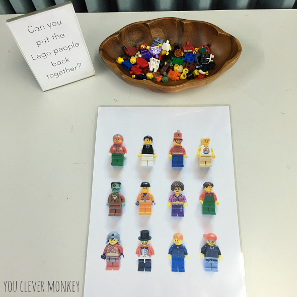 LEGO People Challenge - an easy to create invitation to play perfect for developing problem solving and decision making skills along with fine motor control and strength in young children | you clever monkey