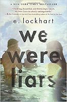 Book cover of 'We Were Liars' by E. Lockhart, two figures playing in the water with text in the forefront