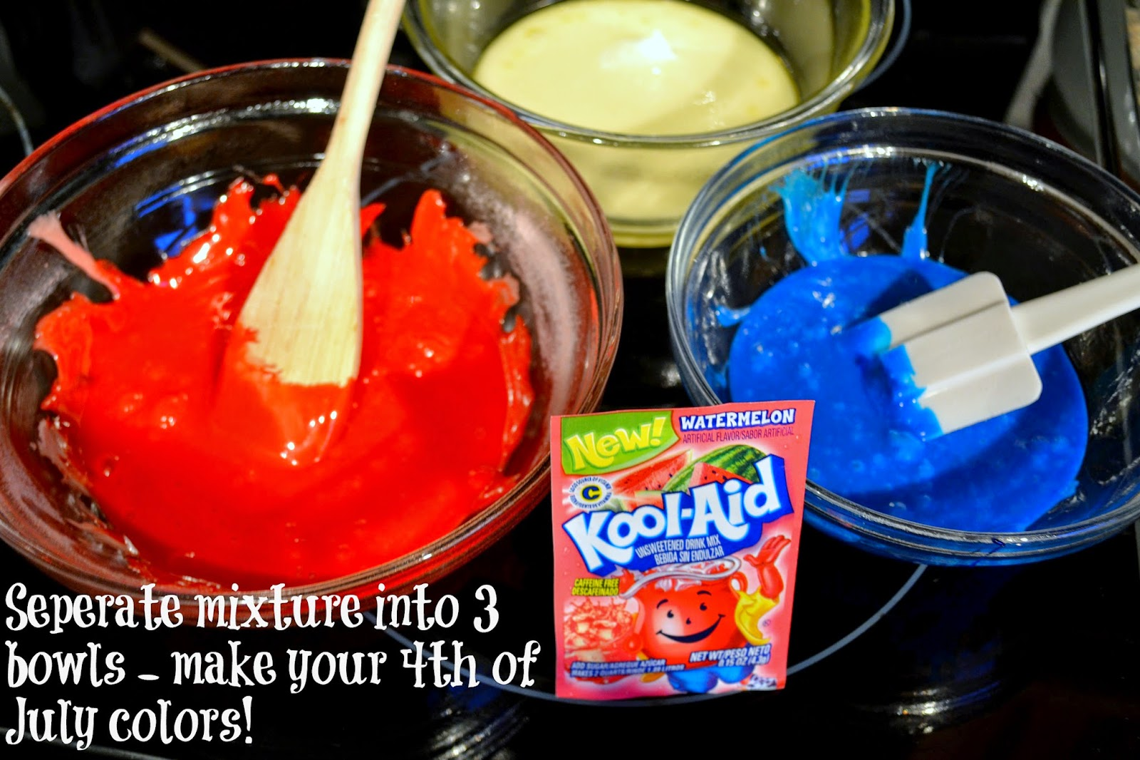 Kool-Aid Fourth Of July Rice Krispie Treat #Recipe. Colored Rice Krispie Recipe. Fourth of July recipes.  Fourth of July desserts.