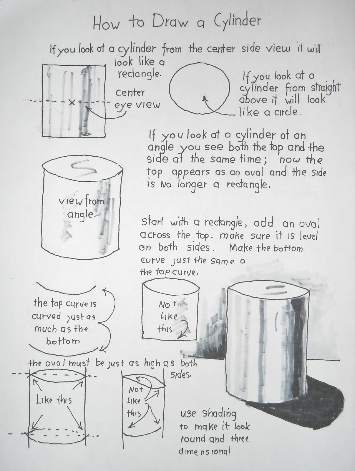 How To Draw Worksheets For The Young Artist How To Draw A Cylinder Easy Lesson And Worksheet