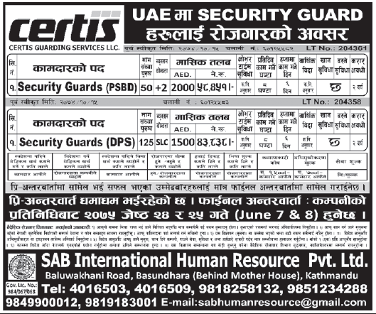 Jobs in UAE for Nepali, Salary Rs 58,451