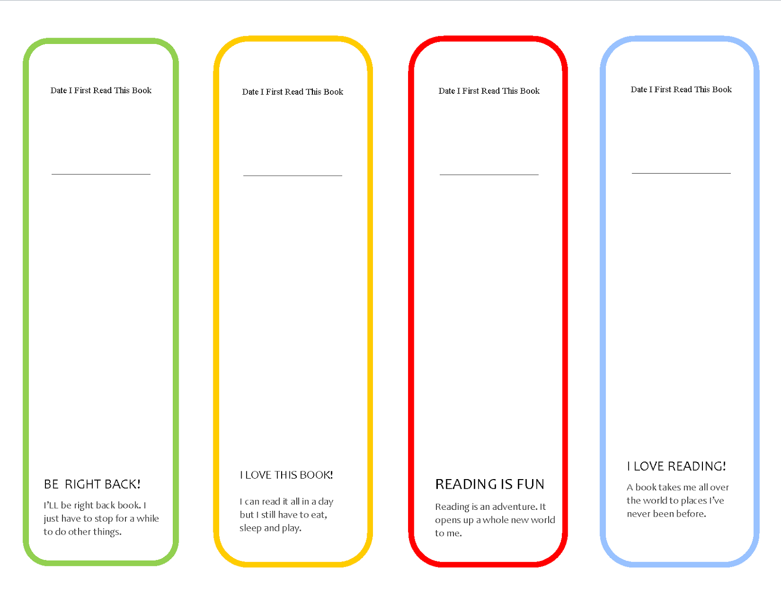 Adorable image pertaining to bookmarks printable