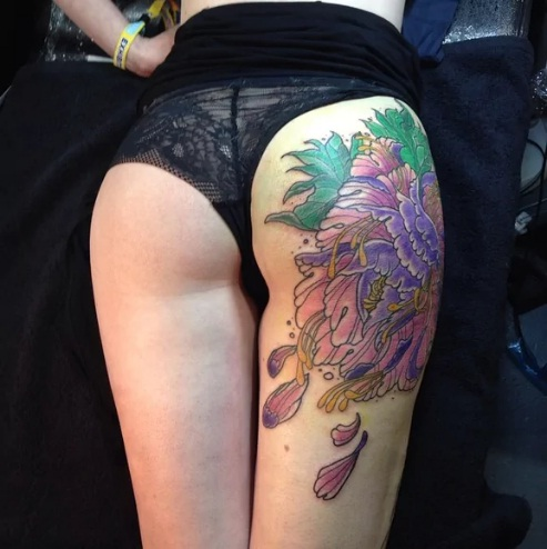 Colorful Butt Tattoos For Girls