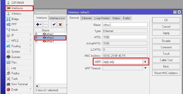 Gambar Konfigurasi ARP Reply Only Pada Mikrotik RouterOS