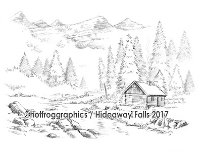 pencil sketch artwork shows log cabin in remote dream location