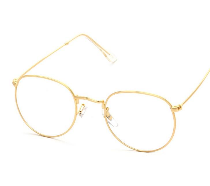 629e60c60fd Golden - Retro super light round wire frame eyeglasses - antique preppy  style eyewear