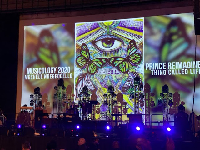 This happened at  @PaisleyPark  soundstage on Saturday, February 15th was a special performance by visionary vocalist, songwriter, and bassist #MeshellNdegeocello  @OfficialMeshell     Visionary Art illustration on-screen  @SpencerDerryART    Audience Photo by  @on_the_one