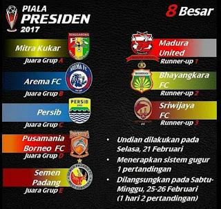Calon Lawan Persib Bandung di Babak Delapan Besar Piala Presiden 2017