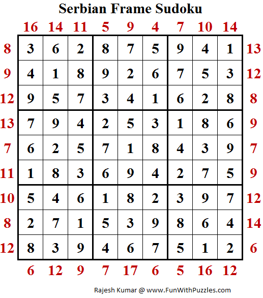 Serbian Frame Sudoku (Puzzles for Adults) Solution