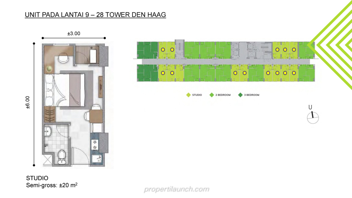 Tipe Studio - Floor Plan Lantai 9-28