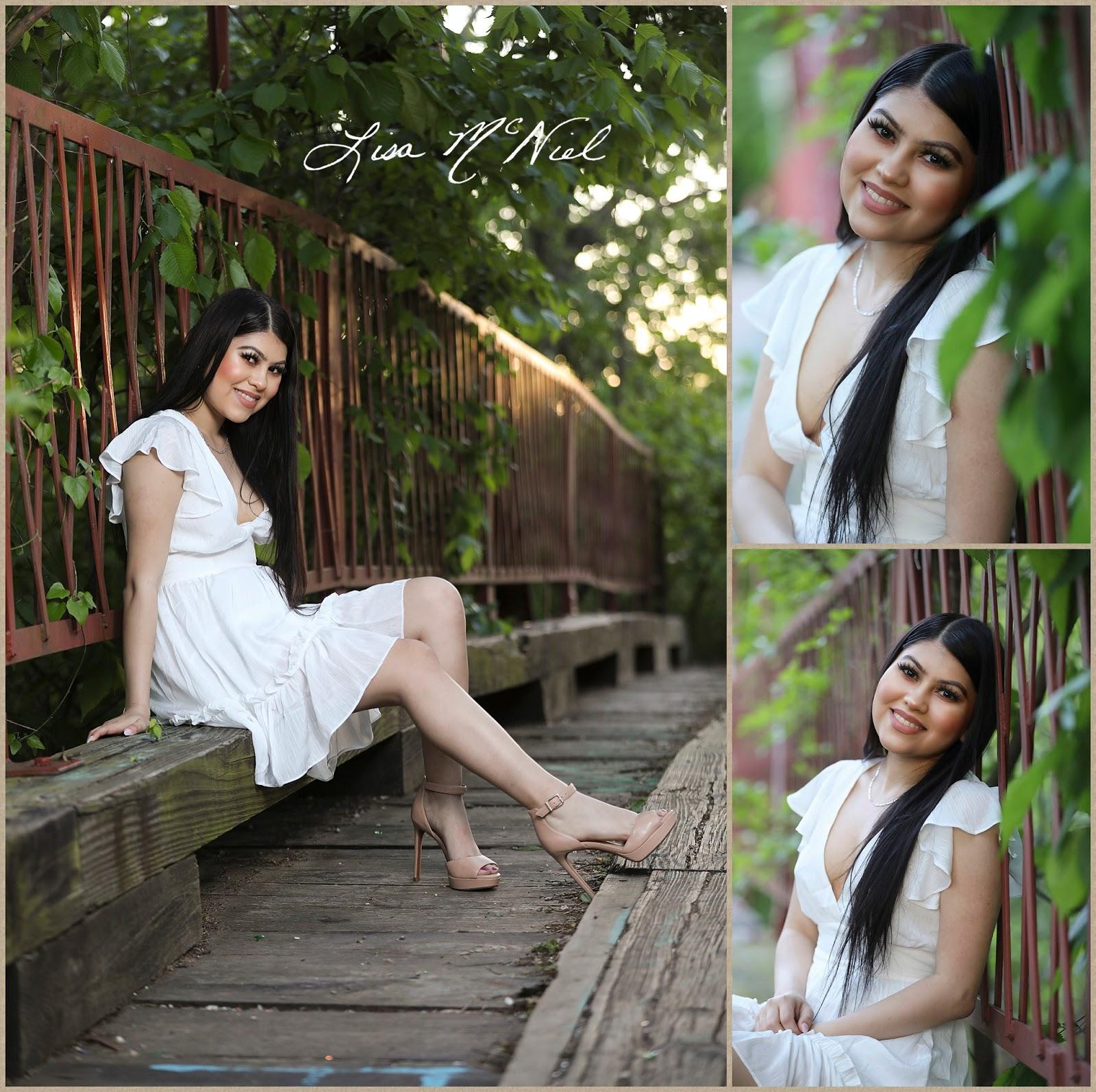 teen girl in white dress on vintage bridge