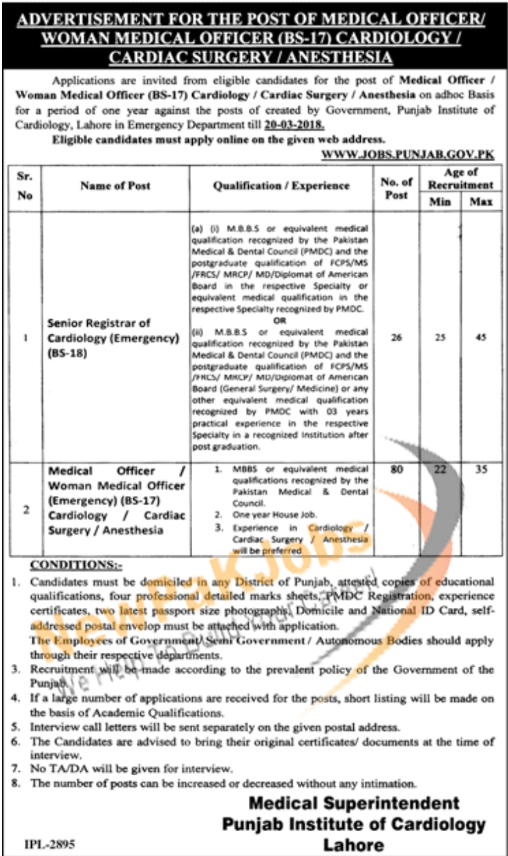 Punjab Institute of Cardiology Lahore PIC, Medical Officer, Women Medical Officer